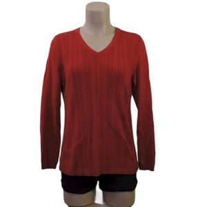 Talbots red cotton cable knit sweater size Medium